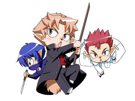 Обои Sakamoto Yuuji / Юдзи Сакамото, Oshii Akihisa и Tsuchiya Kouta атакуют из аниме Дурни, Тесты, Аватары / Baka to Test to Shoukanjuu, art by Yui Haga