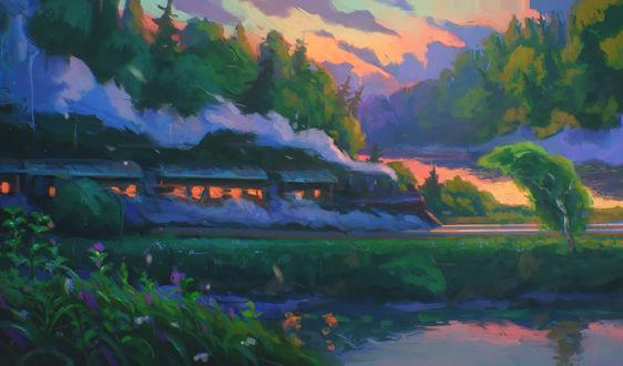 Обои Поезд мчится вдоль леса, by Sylar113