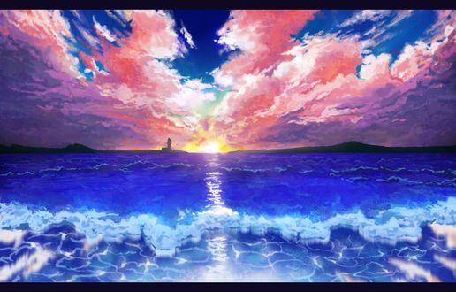 Обои Маяк на фоне розовых облаков над голубым морем