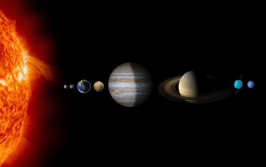 Обои Расположение планет в Солнечной системе