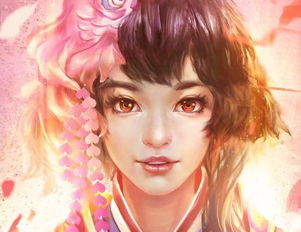 Обои Девушка с цветком на голове, by 巴拉告 (煌炎武)
