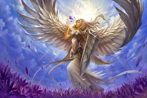 Обои Девушка ангел с щитом в одной руке, над другой рукой воздухе цветок на фоне неба