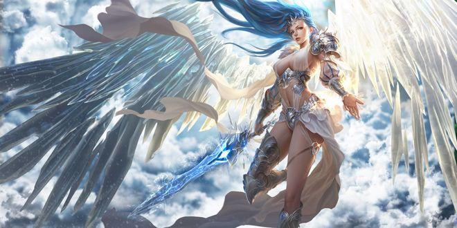 Обои Воинственный девушка - ангел с мечом в руке парит на фоне неба и облаков