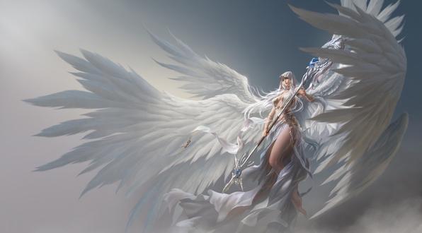 Обои Девушка ангел с магическим жезлом в руках парит в воздухе из игры League of Angels / Лига ангелов