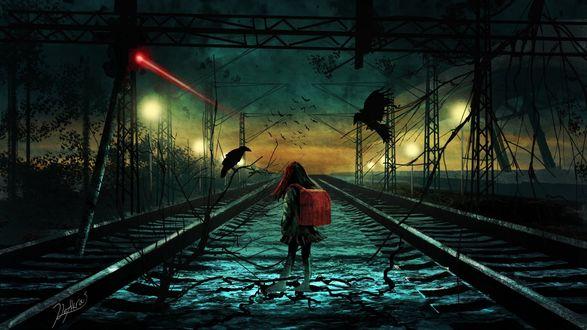 Обои Девочка с рюкзаком стоит на железной дороге и рядом с ней черный ворон