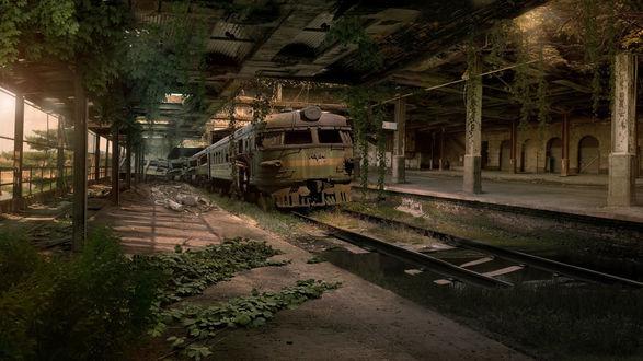 Обои Поросшая зеленью заброшенная железнодорожная станция с разбитым электропоездом