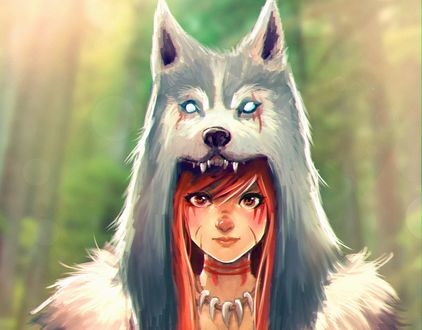 Обои Девушка поверх головы одела маску с волчьей головой