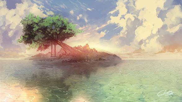 Обои Качеля подвешена на одиноком дереве в окружении воды, by Clo sz