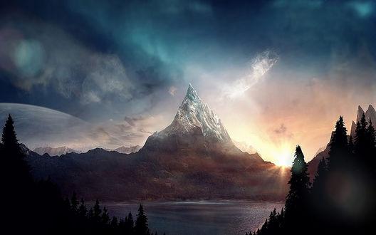 Обои Футуристический восход солнца над горой с озером, by Jeff Michelmann