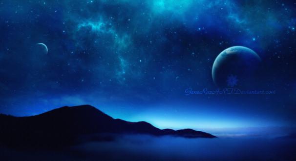 Обои Огромная планета на ночном небе, by GeneRazART