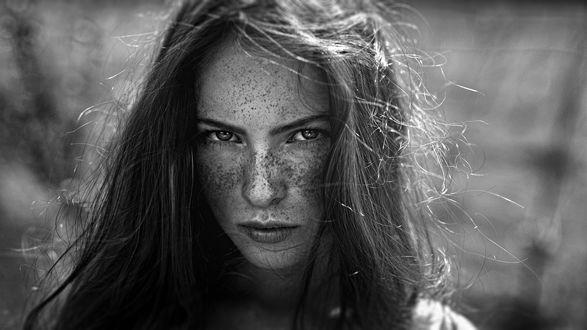 Обои Модель Катя с веснушками на лице, фотограф Георгий Чернядьев