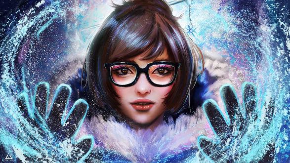 Обои Девушка в очках держит руки перед собой, Mei из игры Overwatch / Дозор, by Asteltainn