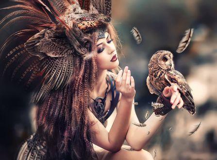 Обои Девушка с украшением на голове из перьев держит на руке сову, фотограф Ирина Недялкова