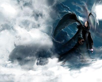 Обои Мужчина-ангел с черным и белым крылом зовет на небеса