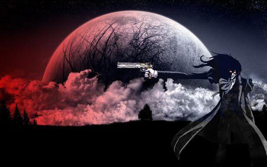 Обои Алукард / Alucard стреляет на фоне луны и облаков из аниме Хеллсинг / Hellsing