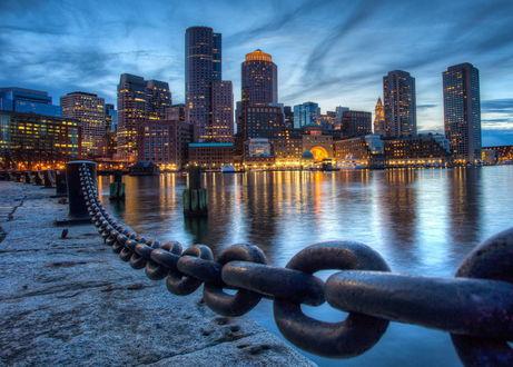 Обои Набережная вечернего Boston / Бостона