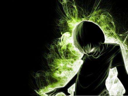 Обои Парень танцует в свете зеленого свечения