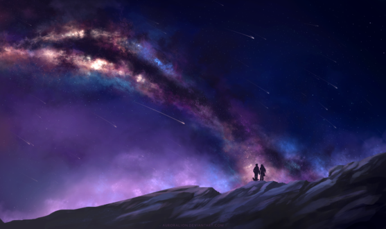 Обои Парень, девушка и собака стоят на горе на фоне ночного неба, млечного пути и звездопада, by AuroraLion