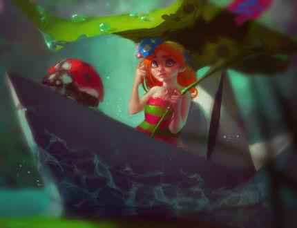 Обои Миниатюрная девочка плывет в бумажном кораблике с божьей коровкой, прячась от капель дождя под листом