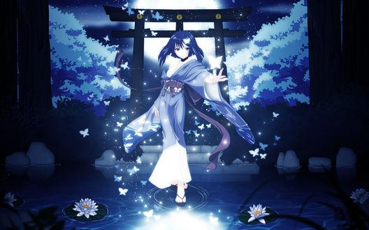 Обои Юмей Хато / Hatou Yumei из визуальной новеллы Красная нить / Akai Ito в кимоно идет по воде на фоне ночного пруда и неба