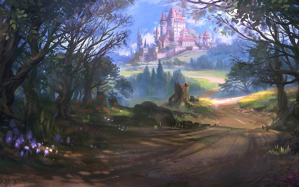 Обои для рабочего стола Прекрасный замок в дали, автор Sun Blue