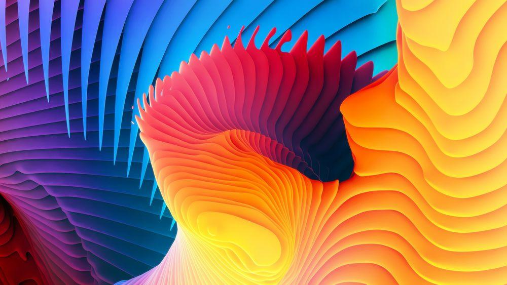 Обои для рабочего стола Разноцветные абстракции в форме волнистых линий