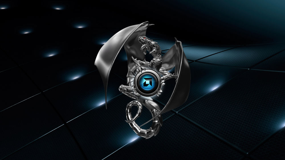 Обои для рабочего стола Логотип компании амд / amd в виде дракона на темном фоне