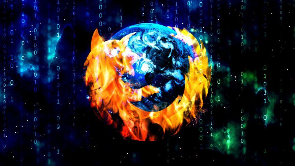 Обои для рабочего стола На черном фоне яркий и красочный логотип браузера Mozilla Firefox
