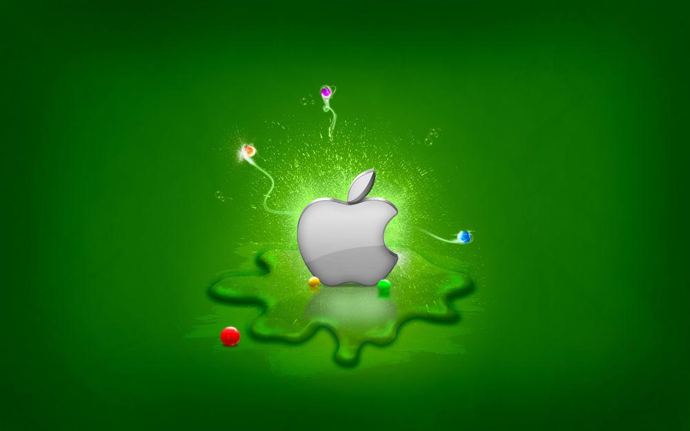 Обои для рабочего стола На зеленом фоне логотип Apple