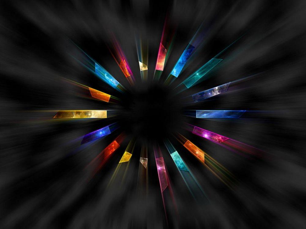 Обои для рабочего стола Темный круг с разноцветными текстурными лучами