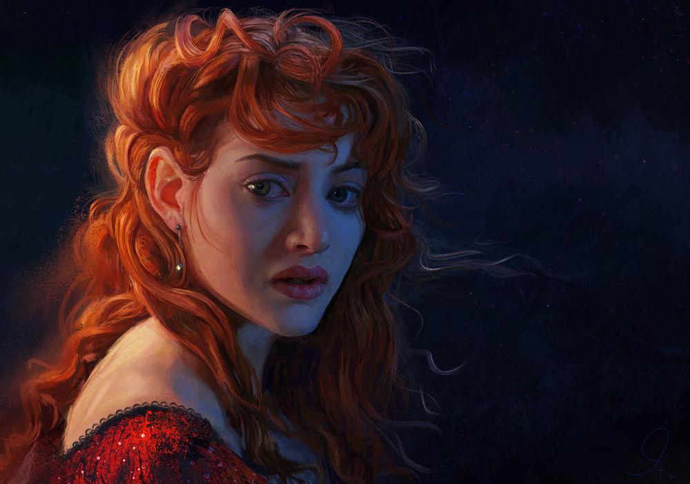Обои для рабочего стола Британская актриса Кейт Уинслет в роли Rose DeWitt Bukater, фильм Титаник, by Mandy Jurgens