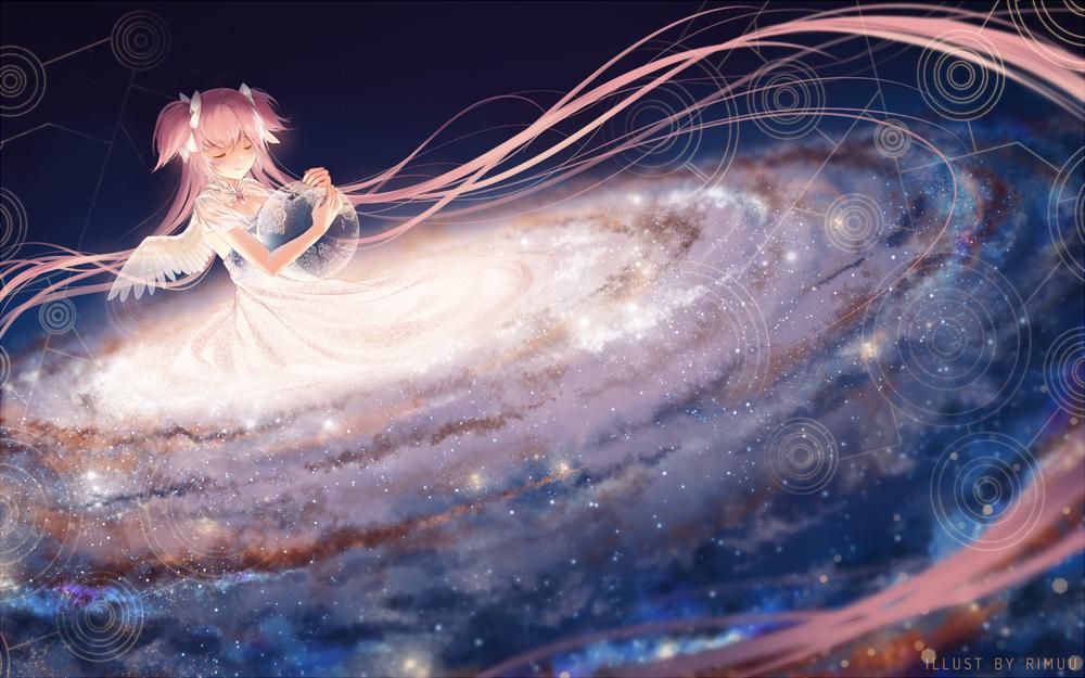Обои для рабочего стола Канаме Мадока / Kaname Madoka из аниме Mahou Shoujo Madoka Magica / Девочка-волшебница Мадока Магика, by rimuu