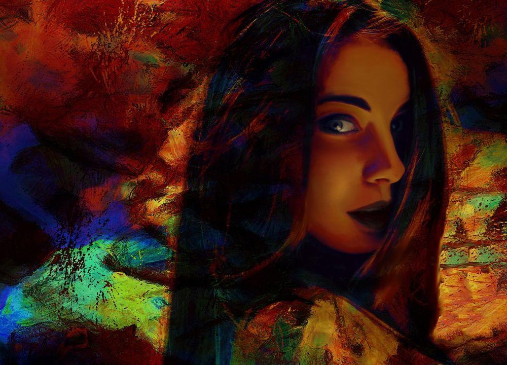 Обои для рабочего стола Портрет девушки в цвете на фоне абстрации