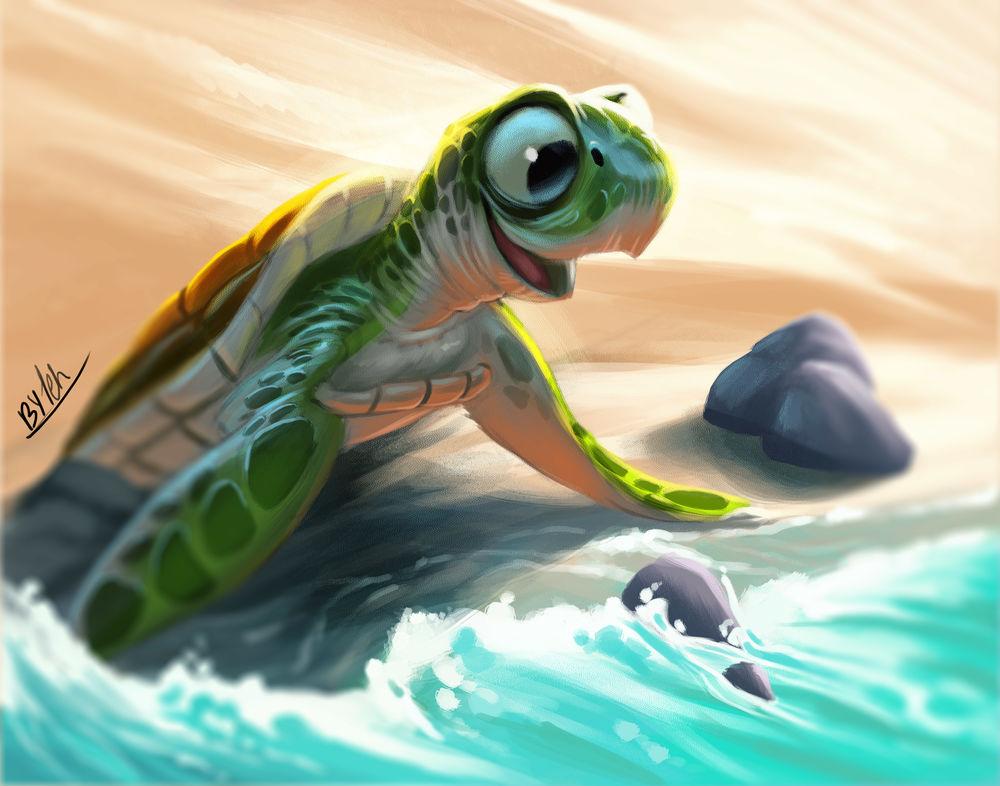Обои для рабочего стола Маленькая черепашка первый раз заходит в море, by TehChan