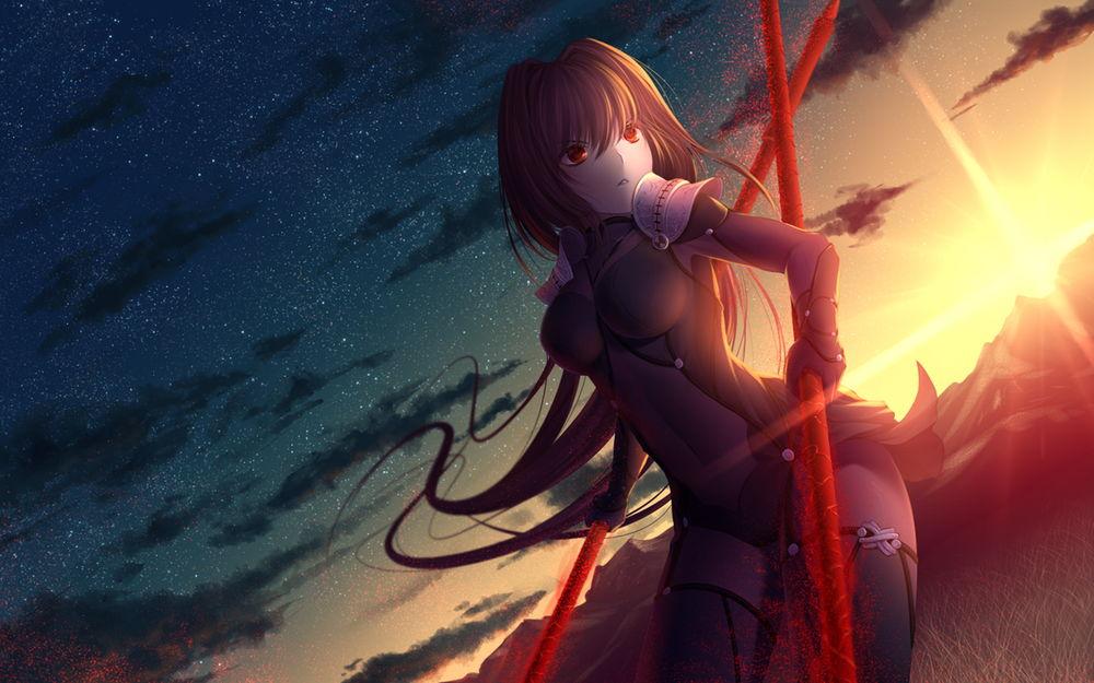 Обои для рабочего стола Девушка в костюме держит две красные палки на фоне ночного неба, by rimuu