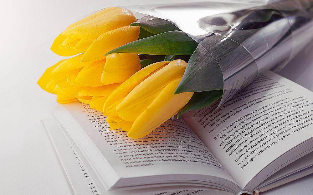 Обои для рабочего стола Букет желтых тюльпанов лежит на открытой книге