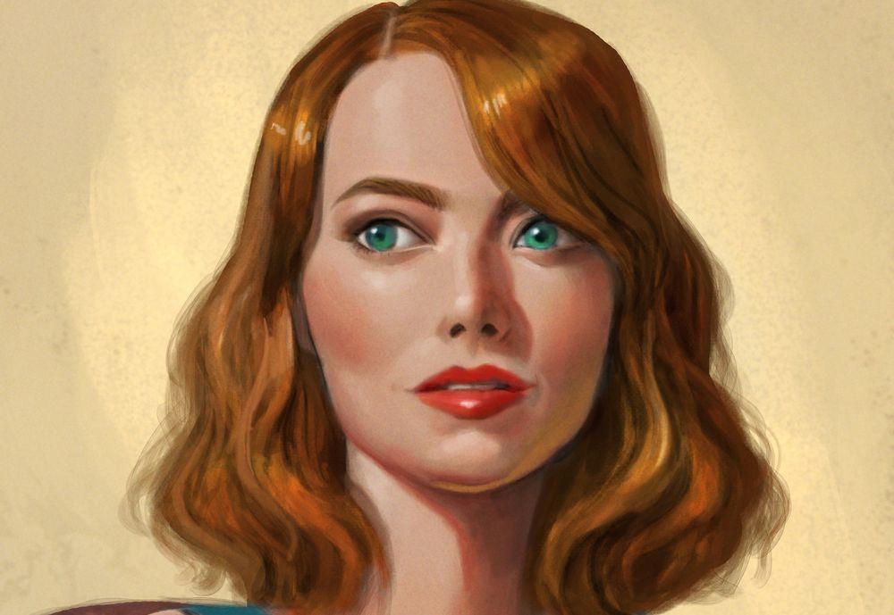 Обои для рабочего стола Девушка с голубыми волосами и рыжими глазами, by David Ardinaryas Lojaya