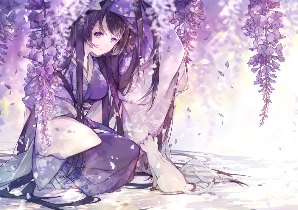 Обои для рабочего стола Девушка с лиловом кимоно и кошка, автор Miyuki