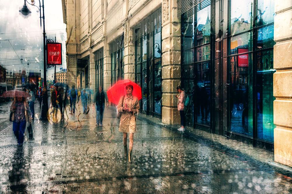 Обои для рабочего стола Дождь на улицах Санкт - Петербурга, Россия, фотограф Эдуард Гордеев
