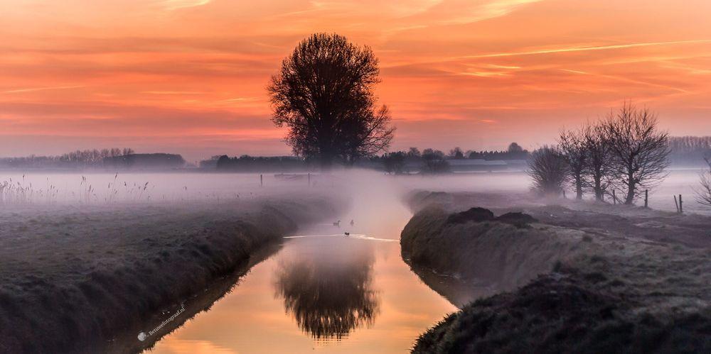 Обои для рабочего стола Розовый рассвет над рекой, фотограф Marinus Keyzer de