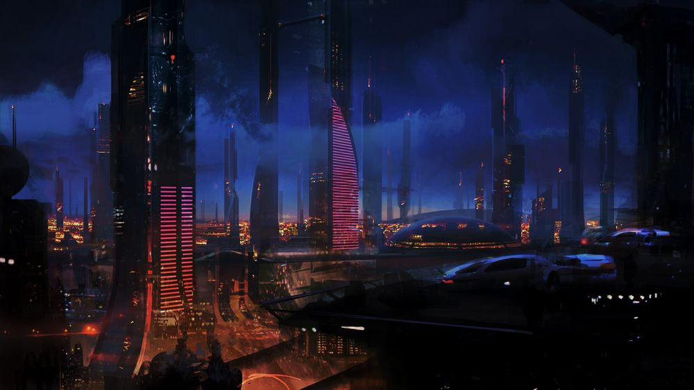 Обои для рабочего стола Ночной город будущего