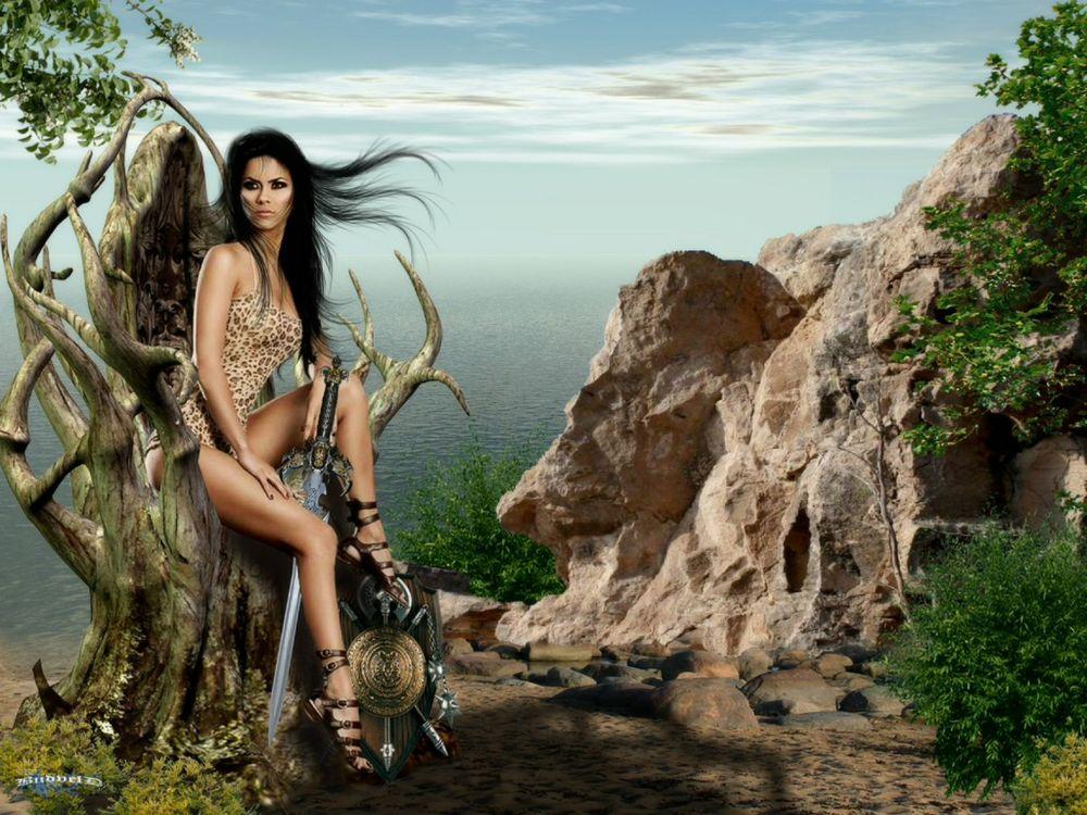 Обои для рабочего стола Полуодетая девушка-воин с мечом возле воды рядом с покрученным деревом
