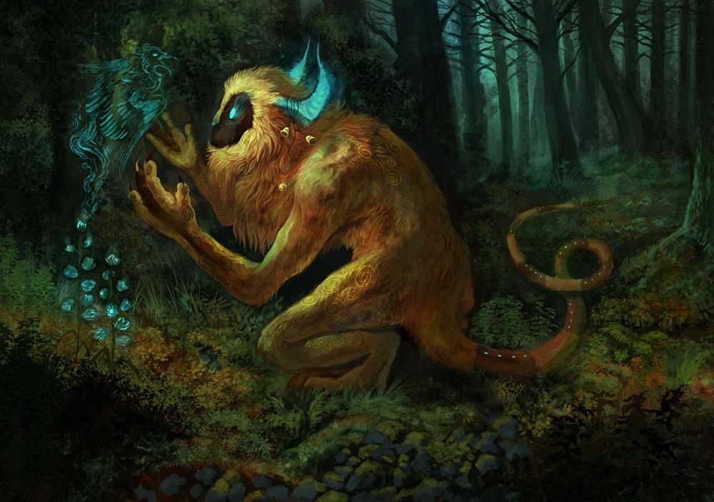 Обои для рабочего стола Лесной бог магией вызывает дух феникса в волшебном лесу