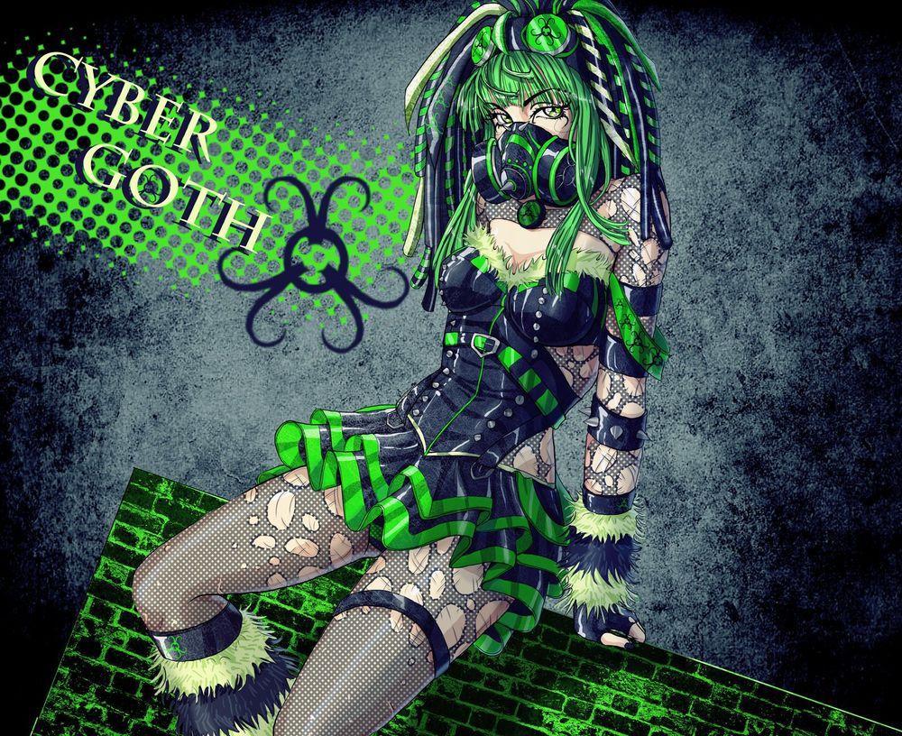 Обои для рабочего стола Кибер готик девушка в зеленом сидит на кирпичной стене