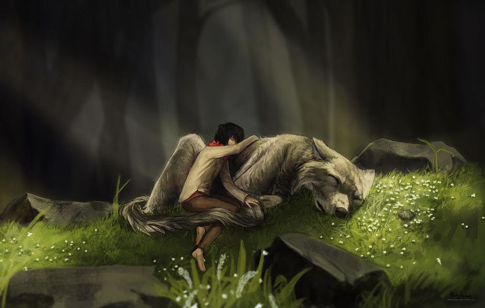 Обои для рабочего стола Девушка и огромный волк спят на лесной поляне, by Hidatsenka