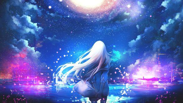 Обои Рэйчел Гарднер / Rachel Gardner из игры и манги Ангел Кровопролития / Satsuriku no Tenshi в окружении лепестков сакуры стоит у воды любуясь звездным небом