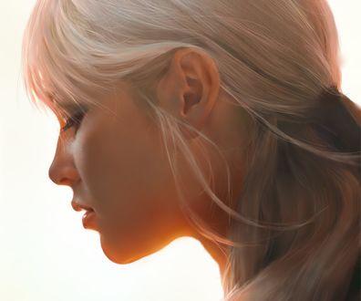 Обои Портрет девушки в профиль, by HE XIAOSONG
