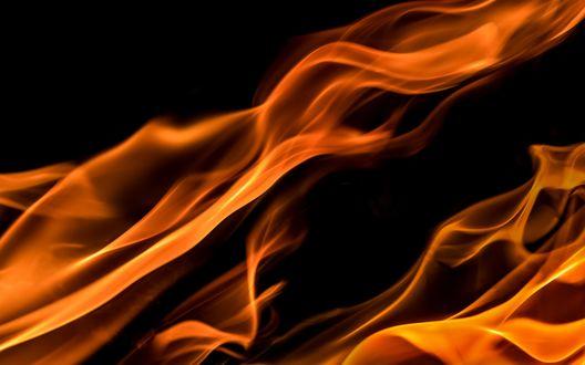 Обои Волнистые линии огня на черном фоне