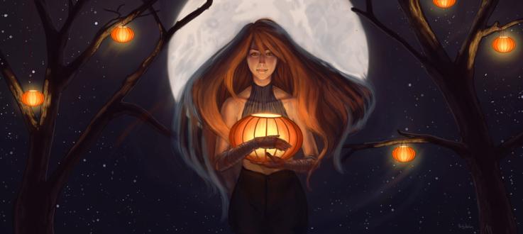 Обои Девушка со светящимся фонарем в руках стоит на фоне полной луны, by Hidatsenka