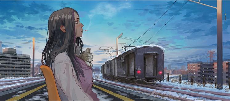 Обои Эманон / Emanon из манги Странствия Эманон / Wandering Emanon / Sasurai Emanon, с сигаретой во рту и кошкой за шиворотом, у железной дороги, by Tomiya